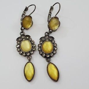 Avon Earrings Yellow Rhinestone NR Dangle Drop Sil